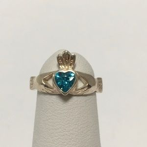 Sterling Silver Claddagh Ring with a Blue Topaz